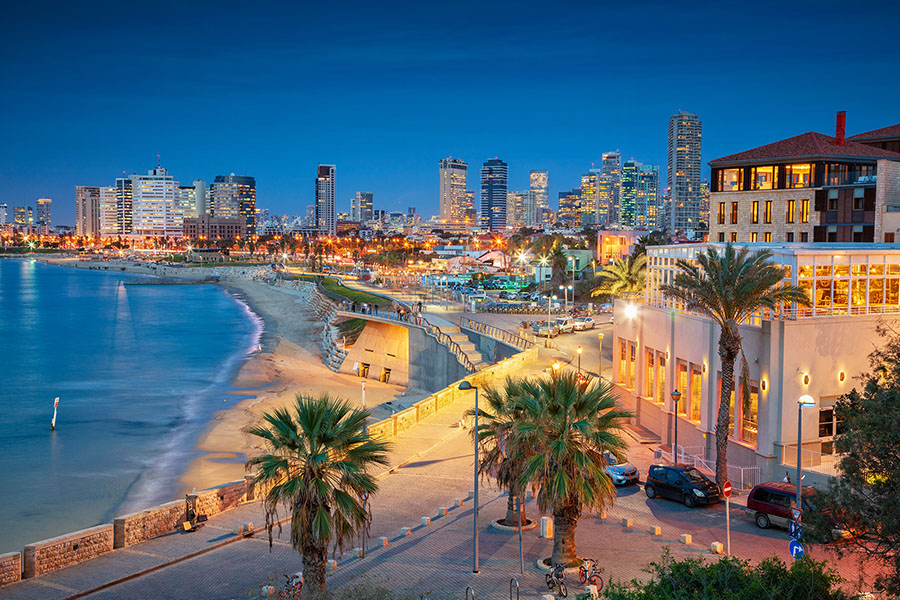 Tel Aviv at Night Skyline
