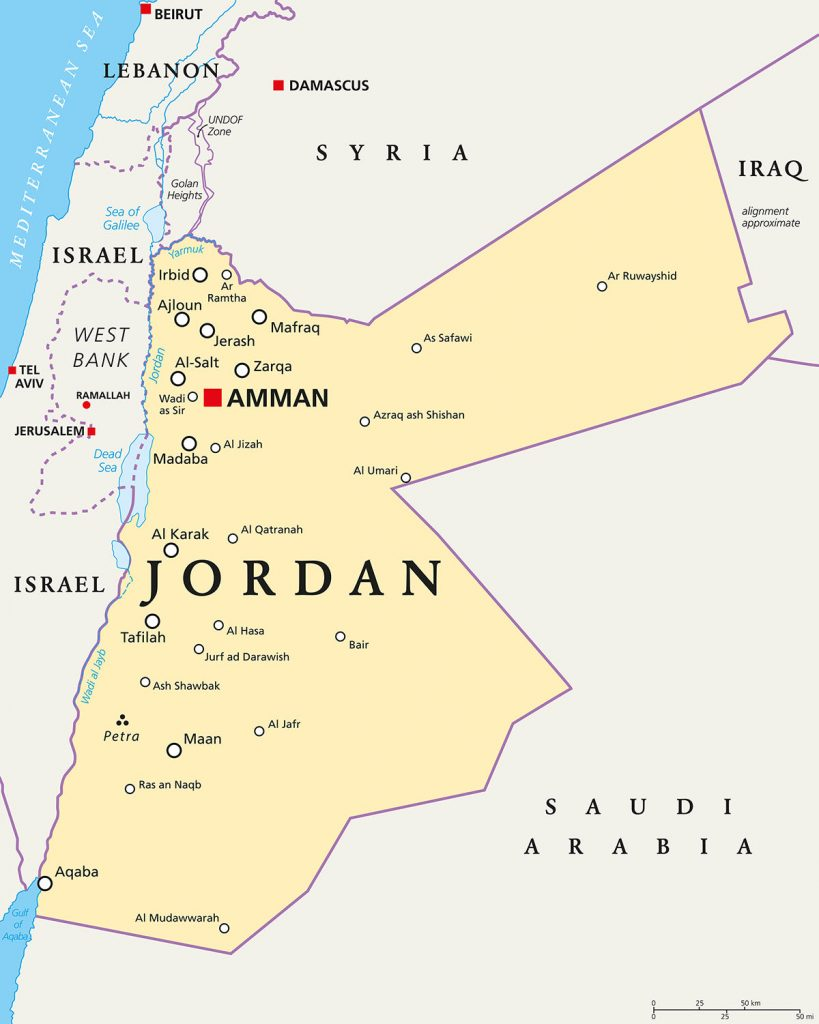 location of Jordan Map